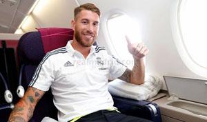 El defensa Sergio Ramos, embarcado en el A380