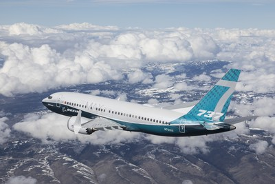 The 737 MAX 7 completed a successful first flight today. The airplane is seen here during its flight. (PRNewsfoto/Boeing)