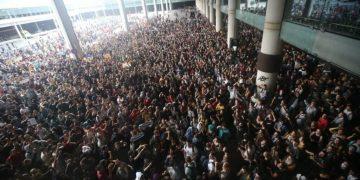 Protesta en el aeropuerto de Barcelona